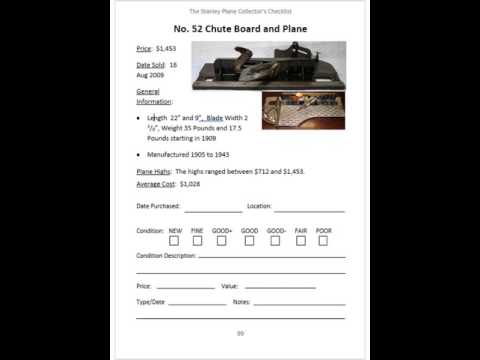 Stanley Plane Collectors Checklist and Value Guide