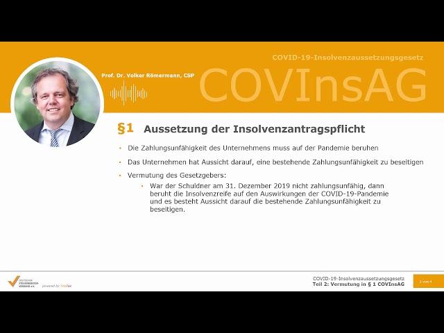 COVID19-InsolvenzaussetzungsgesetzTeil 2: Vermutung in § 1 COVInsAG