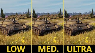 World of Tanks | GTX 1050 Ti + i5-7400 | Low vs. Medium vs. Ultra | 1080p