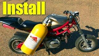 $50 Pocket Bike NOS Install and Nitrous Purge!