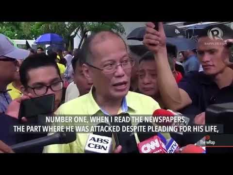 Former president Benigno Aquino condemns the killing of Kian delos Santos, the 17 year old shot by C