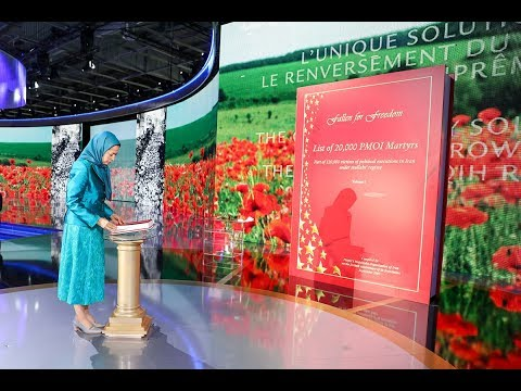 Maryam Rajavi paying tribute to the Resistance's martyrs at the FreeIran Gathering