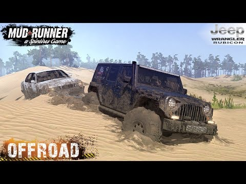 Spintires: MudRunner - JEEP WRANGLER RUBICON Is Towing A BMW On The Sand And Off-road