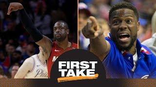 Stephen A.: Kevin Hart 'got his feelings hurt' by Dwyane Wade vs. 76ers | First Take | ESPN by : ESPN