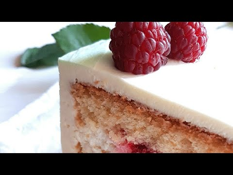 Бисквитный торт! 🎂 Малиновый торт с легким сливочным кремом!
