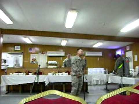 """Karaoke in Iraq.  The Humpty Dance...  """"word."""""""