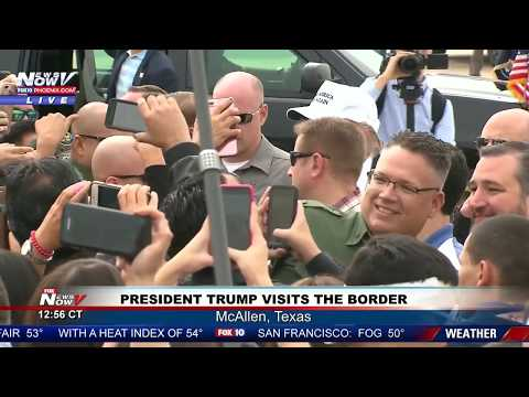 LANDING GREETING: President Trump at the U.S.-Mexico Border in McAllen, Texas (FNN)