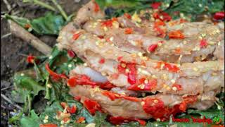 Primitive Technology - Eating delicious - Cooking pork rib on a rock