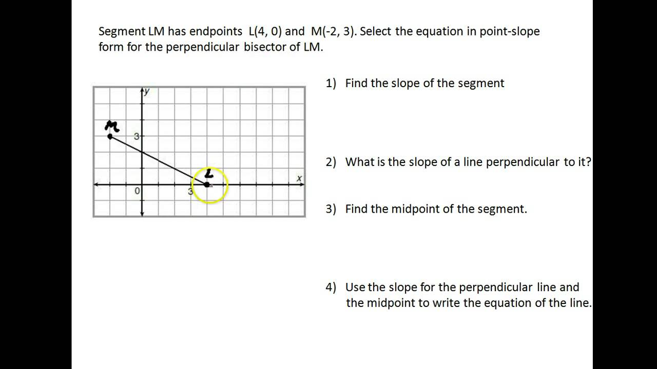 Help perpendicular bisector in point slope form youtube help perpendicular bisector in point slope form falaconquin