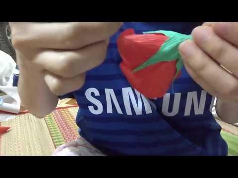 làm hoa hồng bằng giấy nhún || cách làm hoa bằng giấy ngoctrucchannel