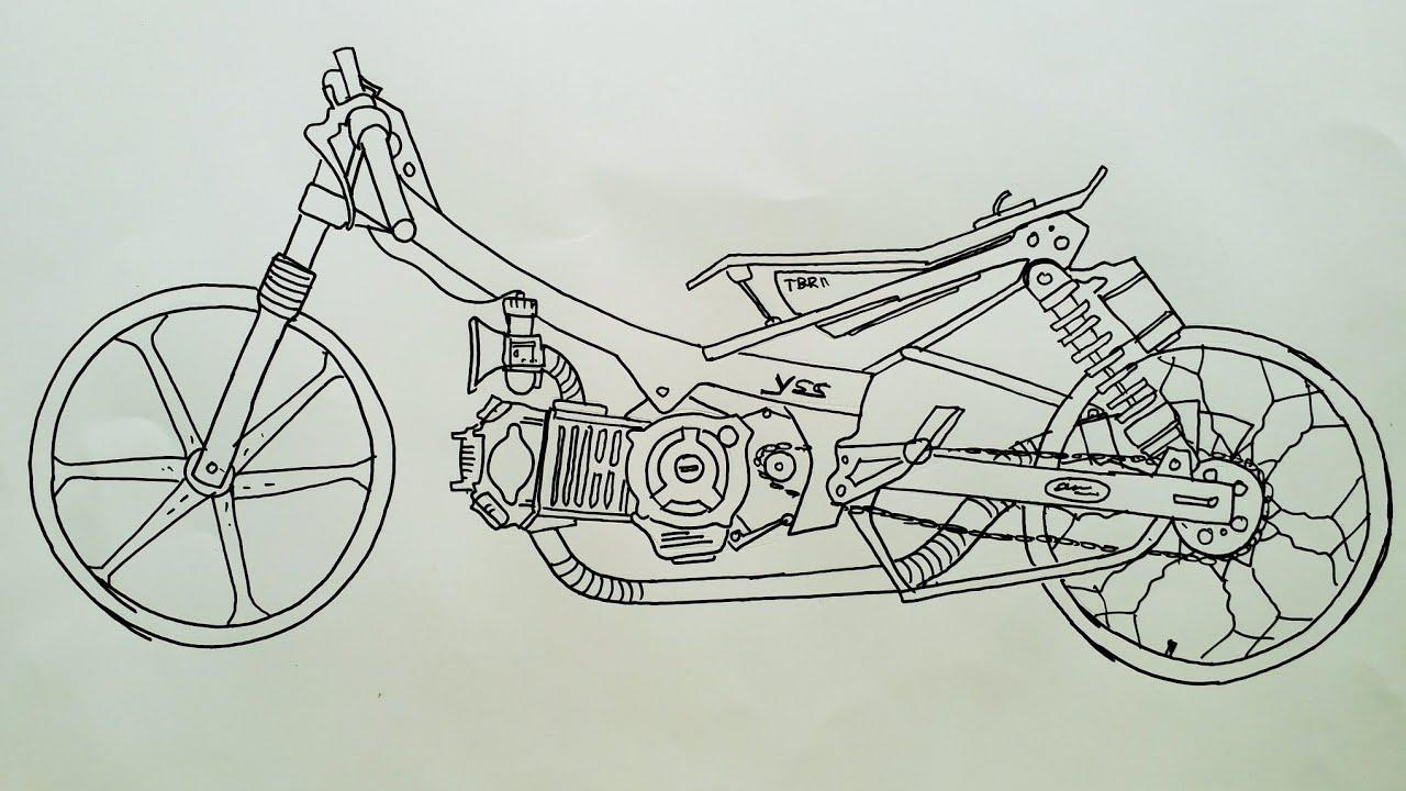 Menggambar Seketsa Motor Drag Jupiter😊😉