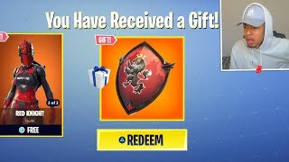 How to RECEIVE the RED KNIGHT SHIELD GIFT! (Fortnite Red Knight Back Bling Unlocked)