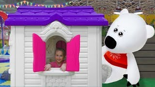 Funny kids play and learn shapes on the indoor playground Educational video for kids