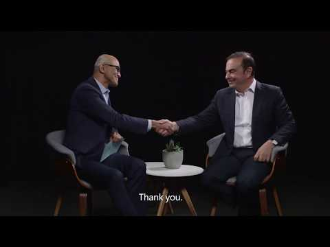 Carlos Ghosn and Satya Nadella, Microsoft CEO