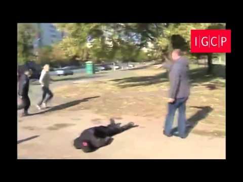 """IGCP. Драка между """"Правым сектором"""" и жителями. Троещина (Киев) 7 октября 2014. 18+"""