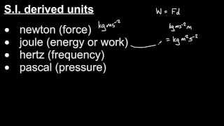 S.I. base units and derived units