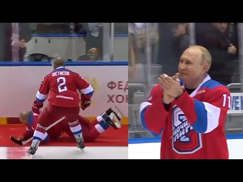 Russian President Putin Falls At The End Of Ice Hockey Exhibition Match Youtube