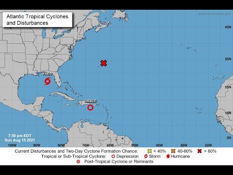 [Sunday / Aug 15] Fred Approaching FL; Grace Nearing Hispaniola; New Storm Forming near Bermuda