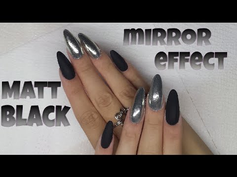 Matte Black Mirror Effect Almond Nails Youtube