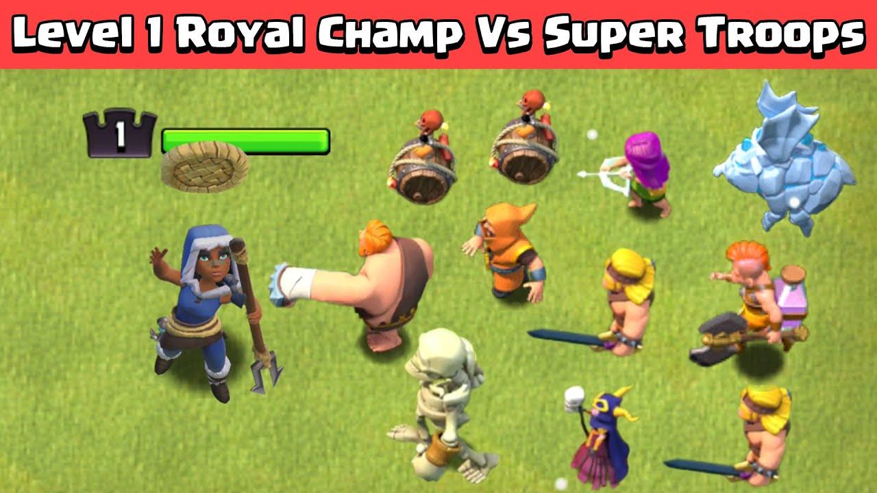 Level 1 Royal Champion Vs Max Super Troops | Clash of Clans Experiment | COC
