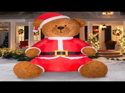 gemmy airblown christmas inflatables 9 teddy bear with santa claus outfit walmart decorations kids youtube