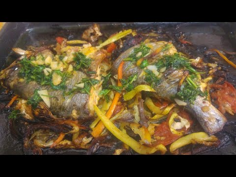 Baked SEA BREAM FISH (VEGGIE W/ SAUCE) USE ANY FISH YOU LIKE