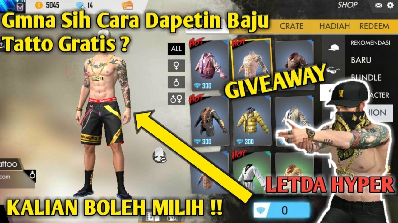 Dapet Bundle Gratis Bagi Bagi Baju Tatto Letda Hyper Garena Free Fire Indonesia Youtube