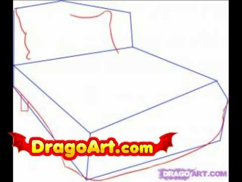 how to draw a bed step by step youtube