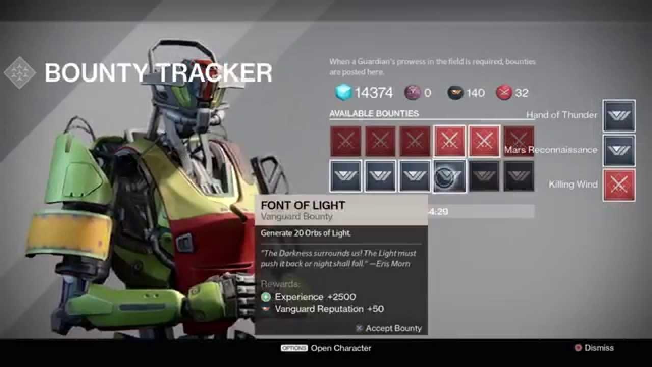 Destiny 2 0 - Updated Bounties - 16 Slots (Bounty Tracker - The Taken King)