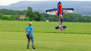 FANTASTIC YOUNG TALENT FLIES RC MODEL EXTRA 300 IN AEROBATICS