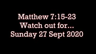 Sunday 27 Sept 20 Sunday 27.9.2020 ( Watch out for... )