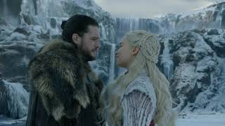 Jon snow kisses Daenerys in front of Dragons. Game of thrones season 8 ep 1