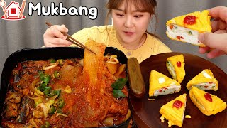 Couple Mukbang│Cooking and eating Saury Kimchi stew and pretty egg roll.