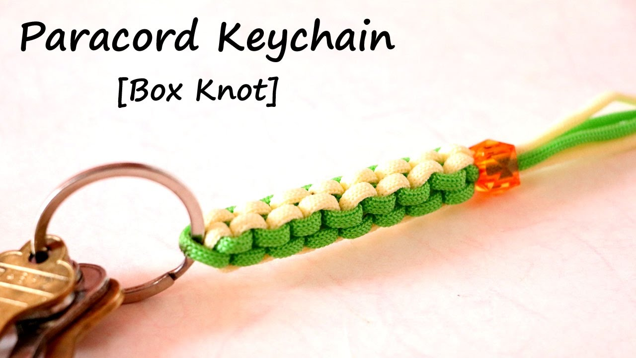 Easy paracord keychain paracord box knot macrame for How to make a keychain out of paracord