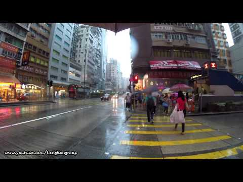 【Hong Kong One Hour】Walking on Nathan Road in a raining day (Lower View)