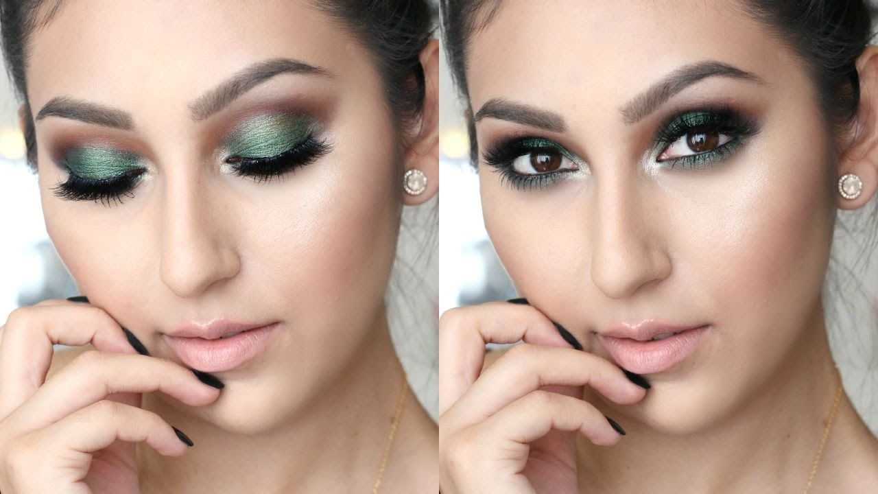 green fall makeup for brown eyes one brand tutorial youtube