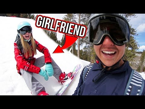 TEACHING GIRL FRIEND SNOWBOARD TRICKS!
