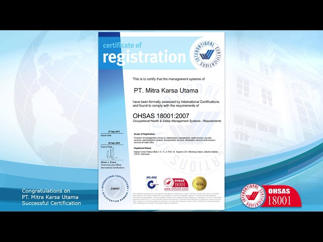 Sertifikat OHSAS 18001:2007