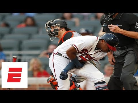 Braves, Marlins react to Ronald Acuna Jr. being hit by pitch | ESPN