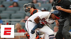 Braves, Marlins react to Ronald Acuna Jr. being hit by pitch   ESPN