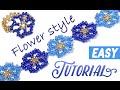 """How to make ✿ flower ✿ bracelet using beads / Как сделать браслет из бисера """"Цветочки"""""""