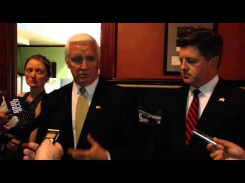 Gov. Tom Corbett reacts to rumors about a Democratic ploy