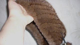 Вязание мехом. Повязка на голову из меха норки.