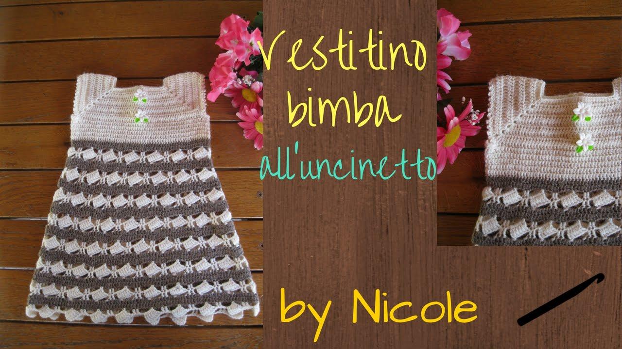 Vestitino Bimba Alluncinetto Per 2 9 Anni Tutorial Crochet Baby