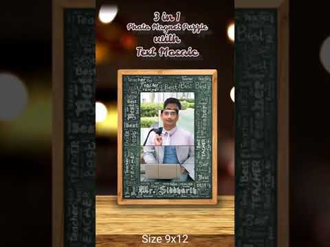 3 IN 1 PHOTO MAGNET PUZZLE PHOTO FRAME WITH TEXT MOSAIC 6X18INCH | PERSONALIZED PHOTO GIFTS