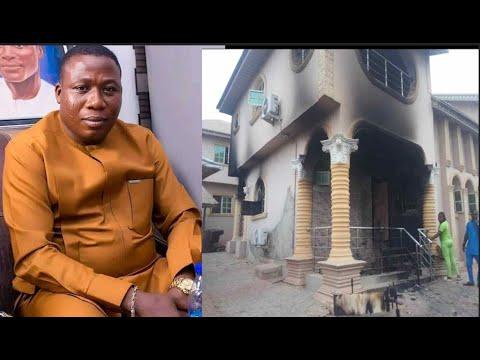 Retaliation! Sunday Igboho's N50million House Burnt Down Days After He Chased Fulani Herdsmen Out