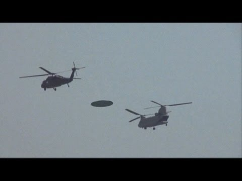 Military Helicopters Escort UFO