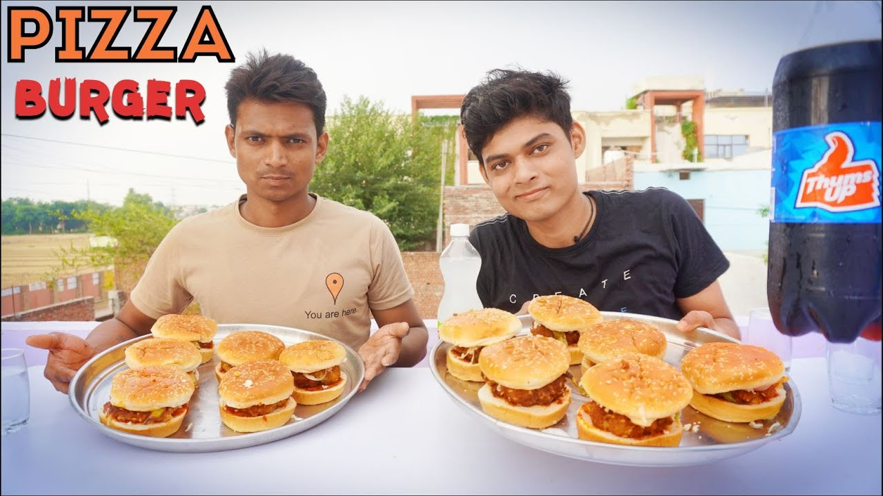 Tasty And Yummy Pizza Burger Eating Challenge   Crispy Pizza Burger Challenge   Food Challenge