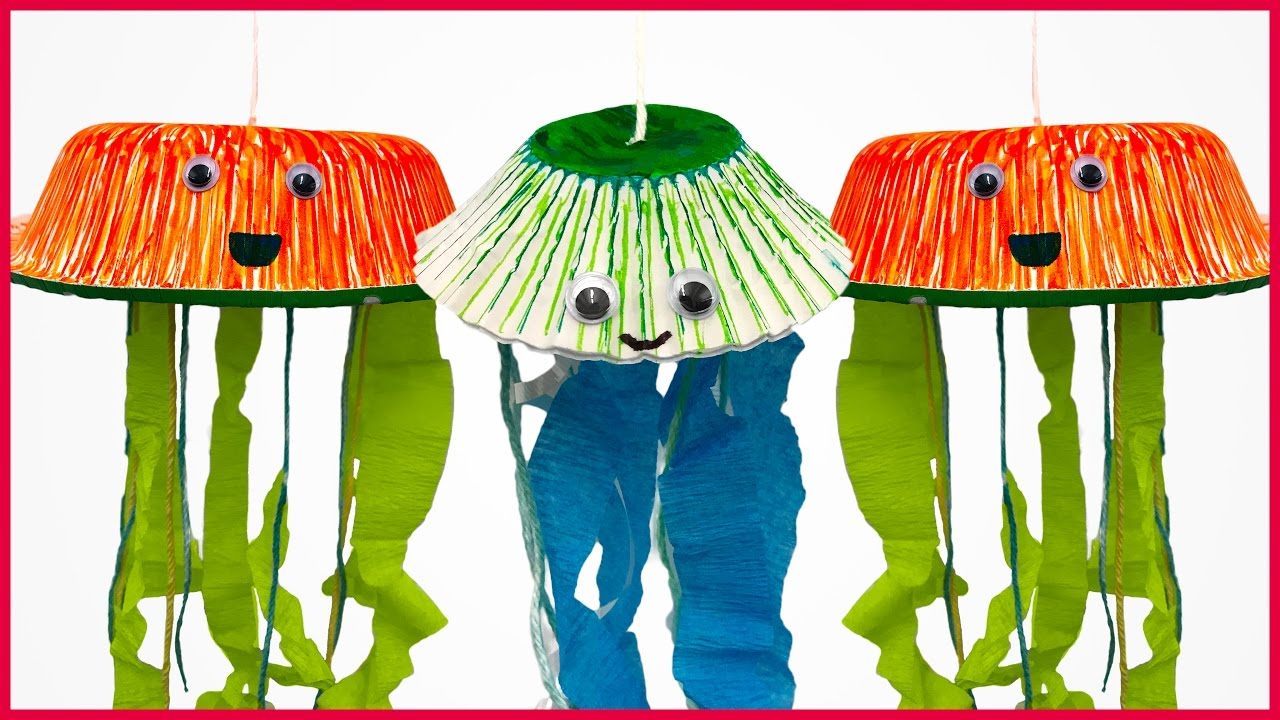 Diy paper bowl jellyfish toy youtube for Best out of waste environment