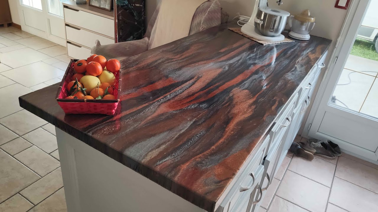resine epoxy metallique epofluid ultra renovation de plan de travail